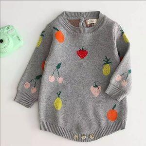 NWT Vintage Nordic Knit Baby Fruit Onesie Sweater